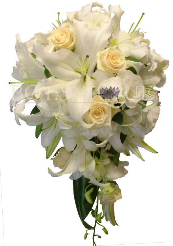 Bridal Flowers Gold Coast : White lilies cream roses lissianthus in teardrop